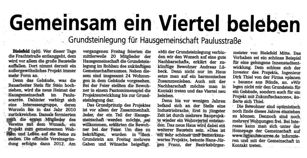 Westfalenblatt Grundsteinlegung Text